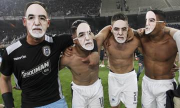 Με μάσκες του Σαββίδη πανηγύριζαν οι παίκτες του ΠΑΟΚ