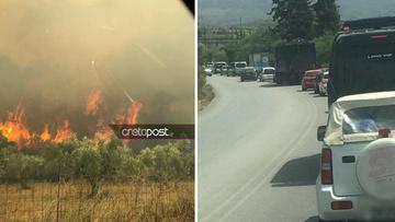 Μεγάλη πυρκαγιά στα Χανιά - Απειλούνται σπίτια - Έκλεισαν δρόμοι (Pics)