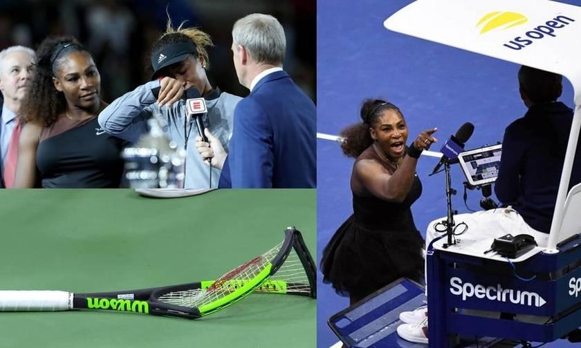 Η Οσάκα νίκησε, η Σερένα έσπασε την ρακέτα και «έκραξε» τον διαιτητή και το κοινό ξέσπασε (vids)