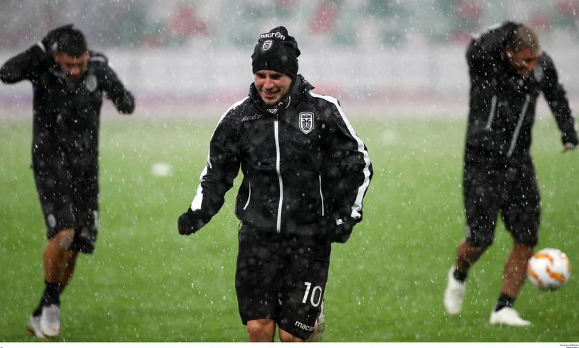 Βροχή και χαλάζι «υποδέχτηκαν» τον ΠΑΟΚ στο Μινσκ