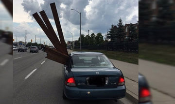 Δημόσιος κίνδυνος: Μετέφερε ξύλα με το αυτοκίνητό του!