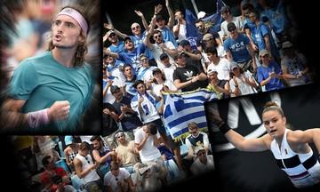 «Πετάνε» Τσιτσιπάς - Σάκκαρη και τρελαίνουν τους Έλληνες της Μελβούρνης (vid)