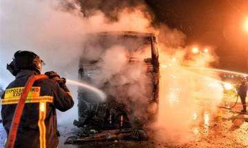 Λεωφορείο έπιασε φωτιά εν κινήσει στην λεωφόρο Μεσογείων
