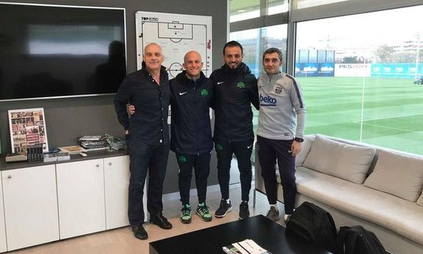 Ο Βαλβέρδε υποδέχτηκε στη Μπάρτσα προπονητές του Παναθηναϊκού