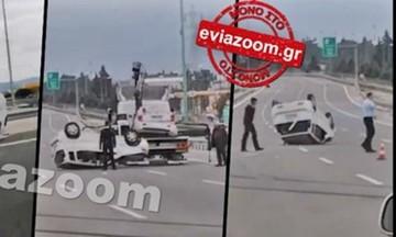 Σφοδρό τροχαίο στην Αθηνών - Λαμίας -Ντελαπάρισε ΙΧ (vid)