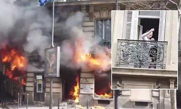Εικόνες Marfin στο Παρίσι:  Μητέρα με μωρό εγκλωβίστηκαν σε μπαλκόνι σε τράπεζα