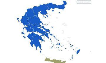 Εκλογές 2019: Ο χάρτης της Ελλάδας στο 48% της ενσωμάτωσης