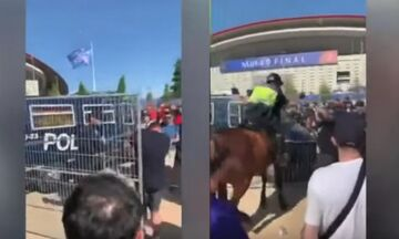 Τελικός Champions League: Άγγλος χούλιγκαν τα βάζει με την αστυνομία - Δείτε τι έπαθε (vid)