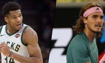 Υποψήφιοι για τα βραβεία του ESPN είναι ο Αντετοκούνμπο και ο Τσιτσιπάς