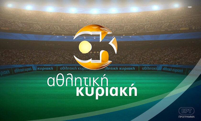 O Στέλιος Πέτσας και ο Γιάννης Αναστασίου στην πρεμιέρα της «Αθλητικής Κυριακής»