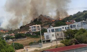 Μαίνεται η πυρκαγιά στο Λαγονήσι - Εκκενώνονται σπίτια (vid+pic)