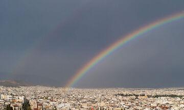 Μετά την καταιγίδα στην Αττική βγήκε ουράνιο τόξο (pics)