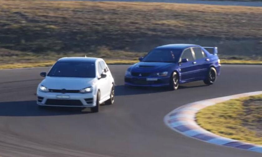 Μπορεί το VW Golf R να σταθεί δίπλα στο Mitsubishi Evo 9; (vid)