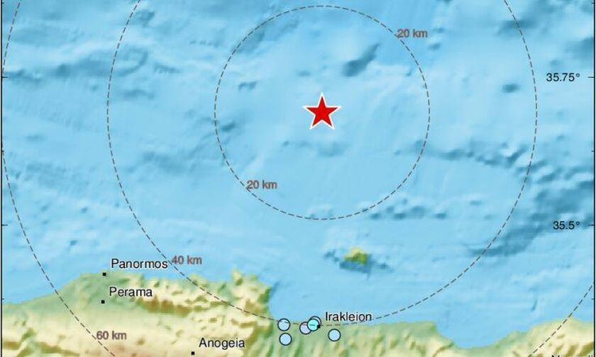 Σεισμός 4,1 Ρίχτερ βόρεια του Ηρακλείου