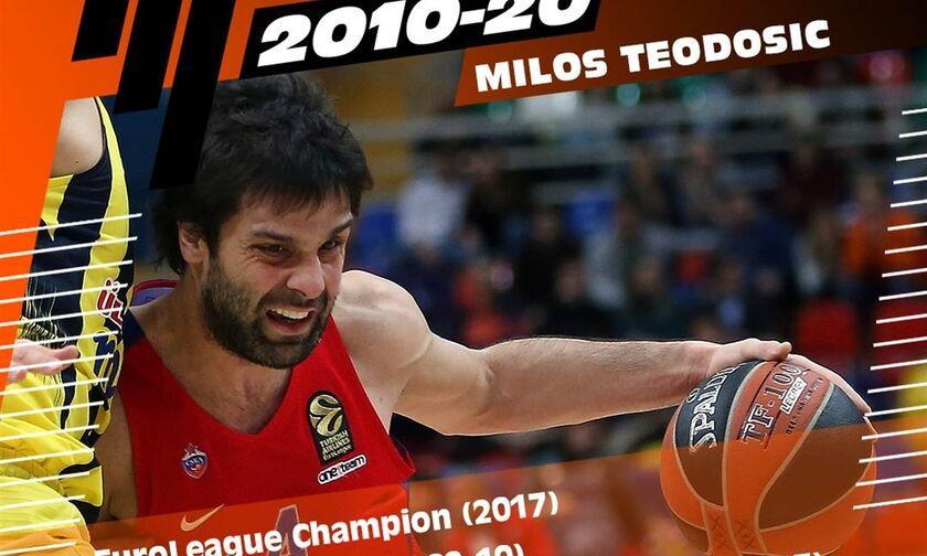 EuroLeague: Ο Τεόντοσιτς 37ος υποψήφιος για την All-Decade Team (vid)