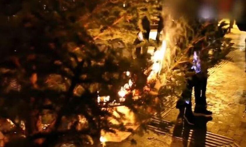 Βίντεο από κάψιμο του χριστουγεννιάτικου δέντρου στα Εξάρχεια (vid)