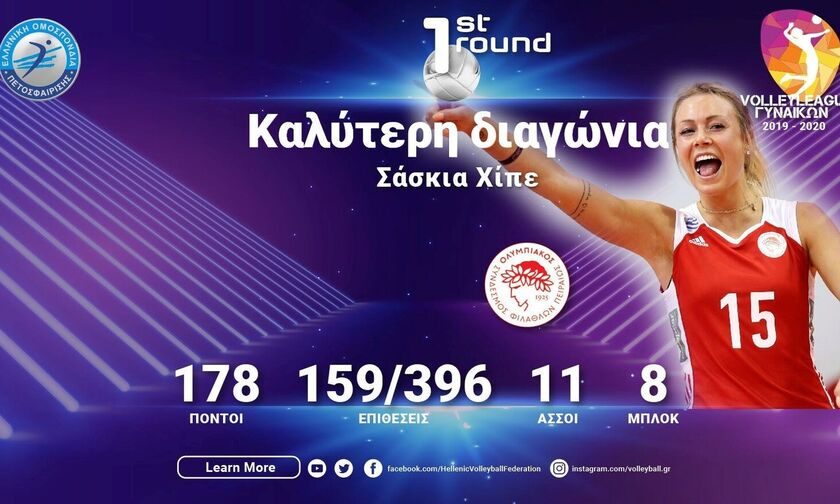 Volley League Γυναικών: Καλύτερη διαγώνια του πρώτου γύρου η Χίπε