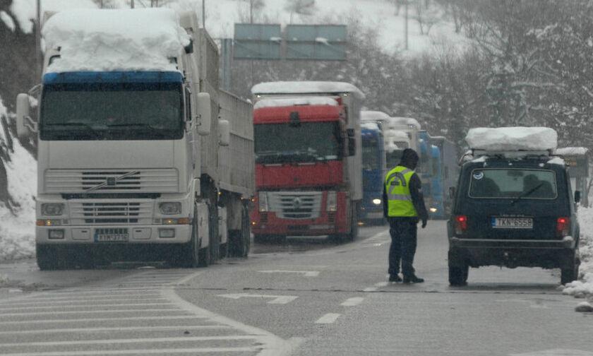 Απαγορεύτηκε η κυκλοφορία των φορτηγών στην Εθνική Οδό Αθηνών-Λαμίας