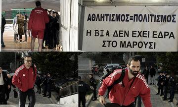 ΠΑΟ - Ολυμπιακός: Η άφιξη του Ολυμπιακού στο κλειστό του Αγ. Θωμά (pics)