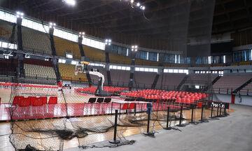 Ολυμπιακός - Παναθηναϊκός: Τοποθέτησαν προστατευτικό δίχτυ στο ΣΕΦ (pics)