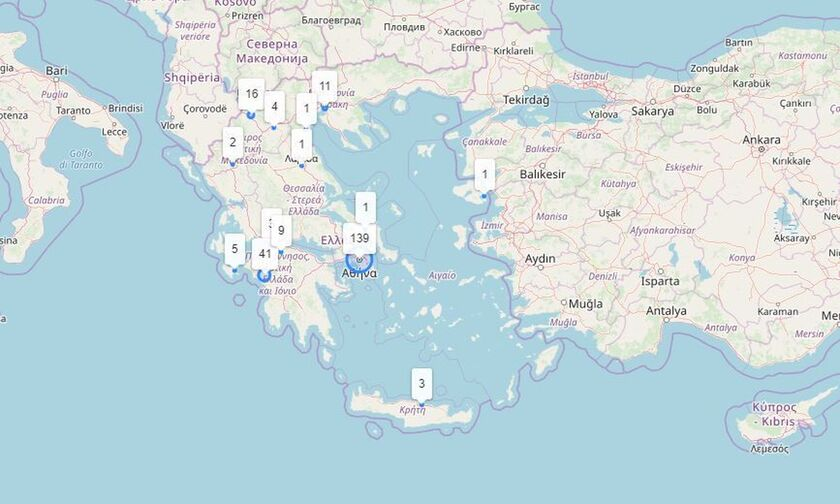 Live χάρτης: Τα κρούσματα κορονοϊού ανά περιοχή στην Ελλάδα