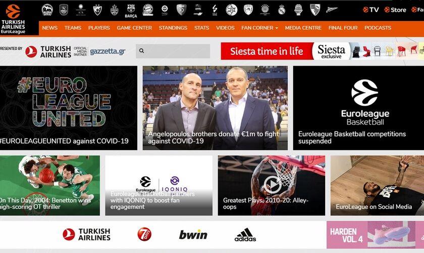 H EuroLeague έκανε αναφορά στη δωρεά των Αγγελόπουλων