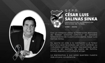 Πέθανε ο πρόεδρος της Βολιβιανής Ποδοσφαιρικής Ομοσπονδίας - Υπέκυψε στον κορονοϊό