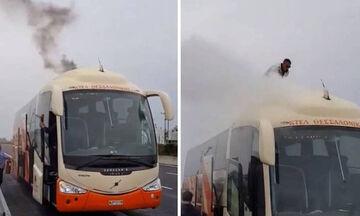 Φωτιά σε λεωφορείο ΚΤΕΛ στην Εθνική Οδό Αθηνών-Λαμίας, σώοι και ασφαλείς οι 29 επιβάτες (vid)