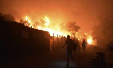 Πύρινη κόλαση στη Λέσβο: Κάηκε η προσφυγική δομή της Μόριας - 13.000 πρόσφυγες στο δρόμο! (pic-vid)
