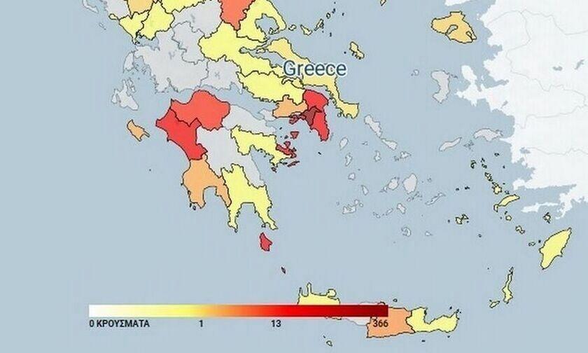 Κατανομή κρουσμάτων κορονοϊού (14/9): Στα 102 στην Αττική