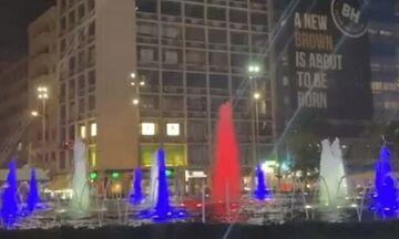 Στα χρώματα της Γαλλίας το σιντριβάνι της Ομόνοιας