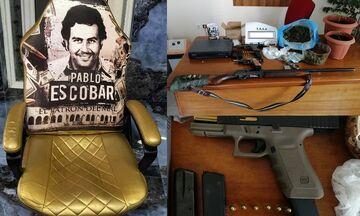Ζεφύρι - Αχαρνές: βρήκαν όπλα και τον... θρόνο του Εσκομπάρ - Συλλήψεις