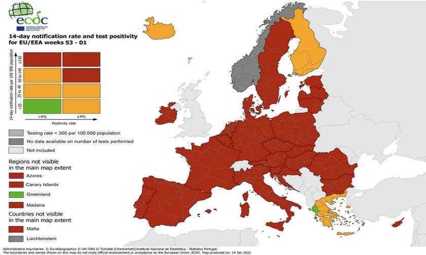 ECDC: Μοναδική ευρωπαϊκή χώρα με «πράσινες» περιοχές η Ελλάδα - Οι τέσσερις περιοχές