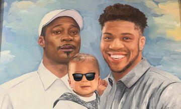 Αντετοκούνμπο: To συγκινητικό δώρο - Ένας πίνακας με τον πατέρα και το γιο του