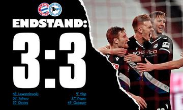 Bundesliga: Παραλίγο να χάσει η Μπάγερν, 3-3 με την Αρμίνια! (highlights)