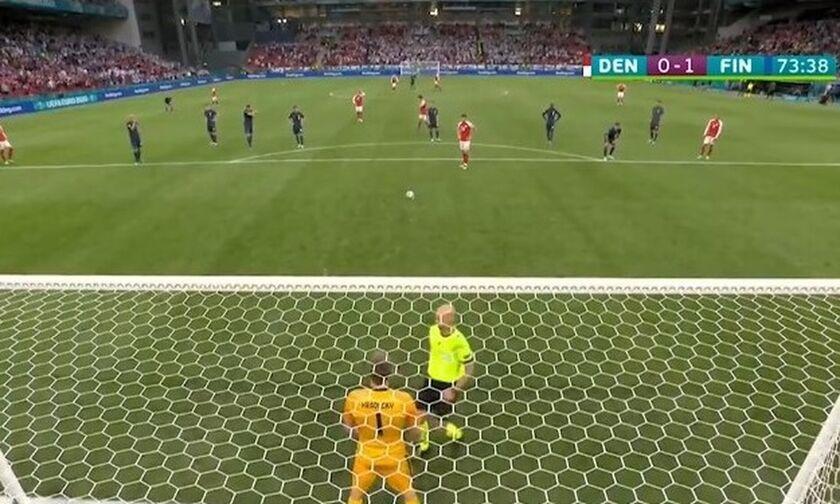 Euro 2020: Δανία - Φιλανδία: Δείτε το πέναλτι που έχασε η Δανία (vid)