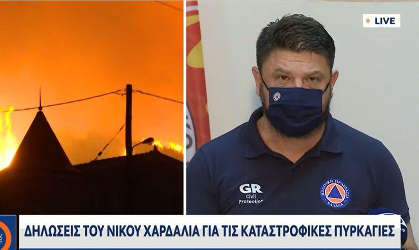 Χαρδαλιάς: «Σήμερα ξέσπασαν 99 νέες φωτιές σε όλη τη χώρα - Ενεργές είναι οι 57» (vid)