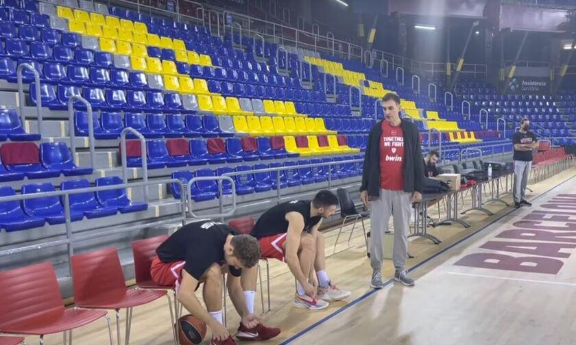 Ολυμπιακός: Η προπόνηση των «ερυθρόλευκων» στη Βαρκελώνη (vid)