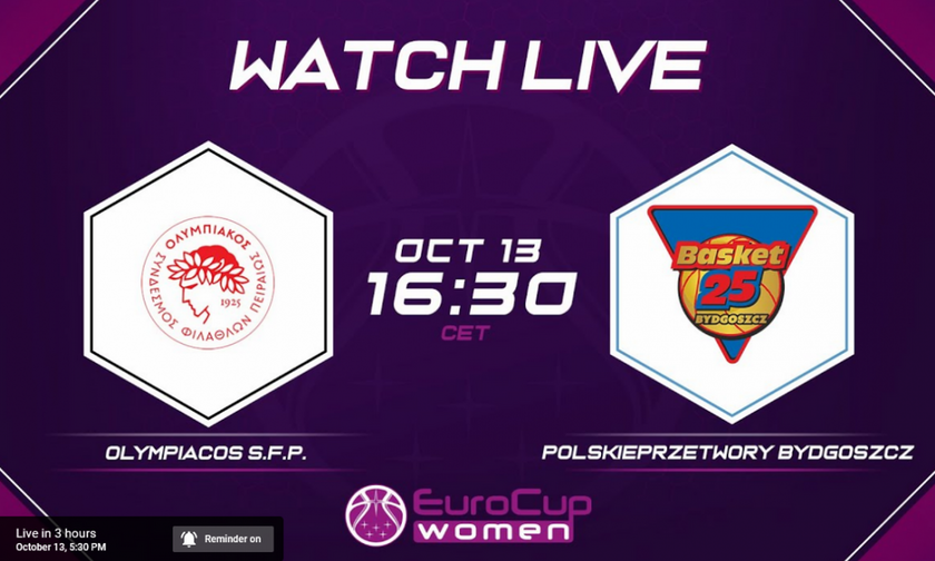 Live Streaming: Ολυμπιακός - Μπίντγκοζ (17:30)